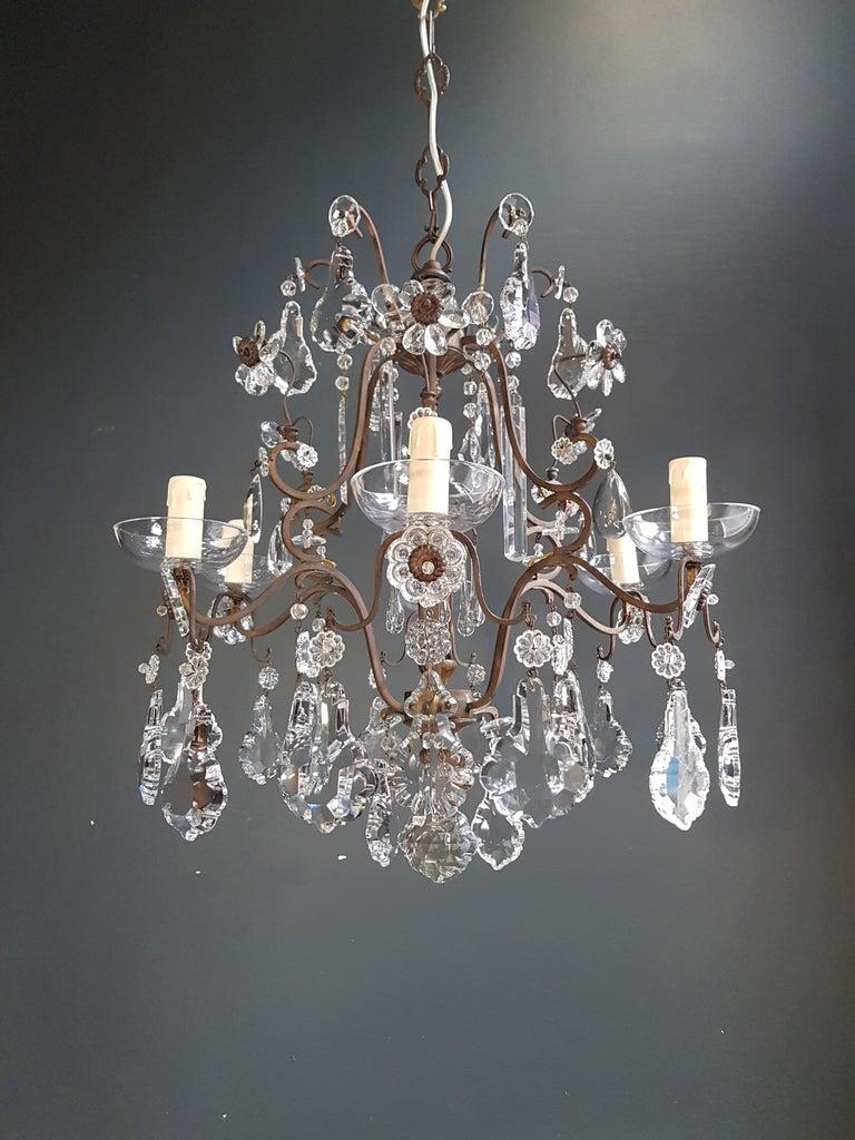 Brass Fine Cage Crystal Chandelier Antique Ceiling Lamp Lustre Art Deco Pendant Light For Sale