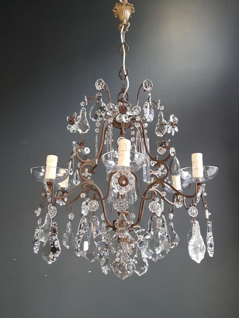 Fine Cage Crystal Chandelier Antique Ceiling Lamp Lustre Art Deco Pendant Light For Sale 1