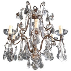 Fine Cage Crystal Chandelier Antique Ceiling Lamp Lustre Art Deco Pendant Light