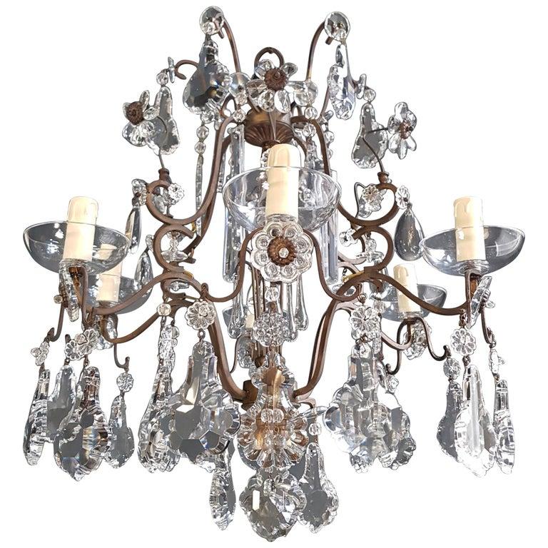 Fine Cage Crystal Chandelier Antique Ceiling Lamp Lustre Art Deco Pendant Light For Sale
