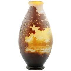 Fine Cameo Glass Vase by Emile Gallé, Signed