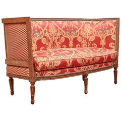 Fine Carved Antique French Settee with High Arms