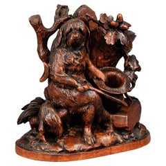 Fine Carved Black Forest Statue of a Disabled Dog, Brienz circa 1900