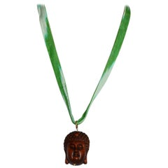 Fine Carved Buddha Face Pendant Gold Linked