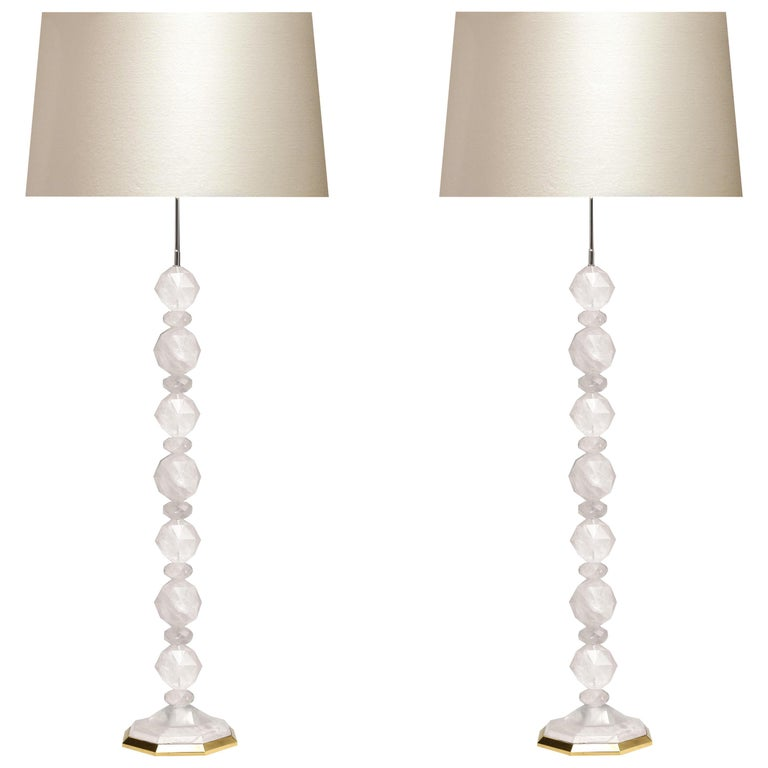 Fine Carved Facet Globe Rock Crystal Floor Lamps By Phoenix For Sale