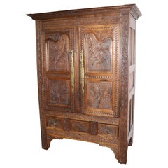 Fine Carved Solid Walnut 18th Century French Armoire TV Cabinet, circa 1780s