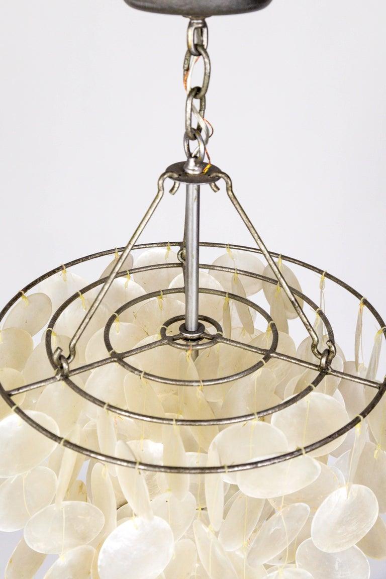 Metal Fine Cascading Capiz Shell Pendant For Sale