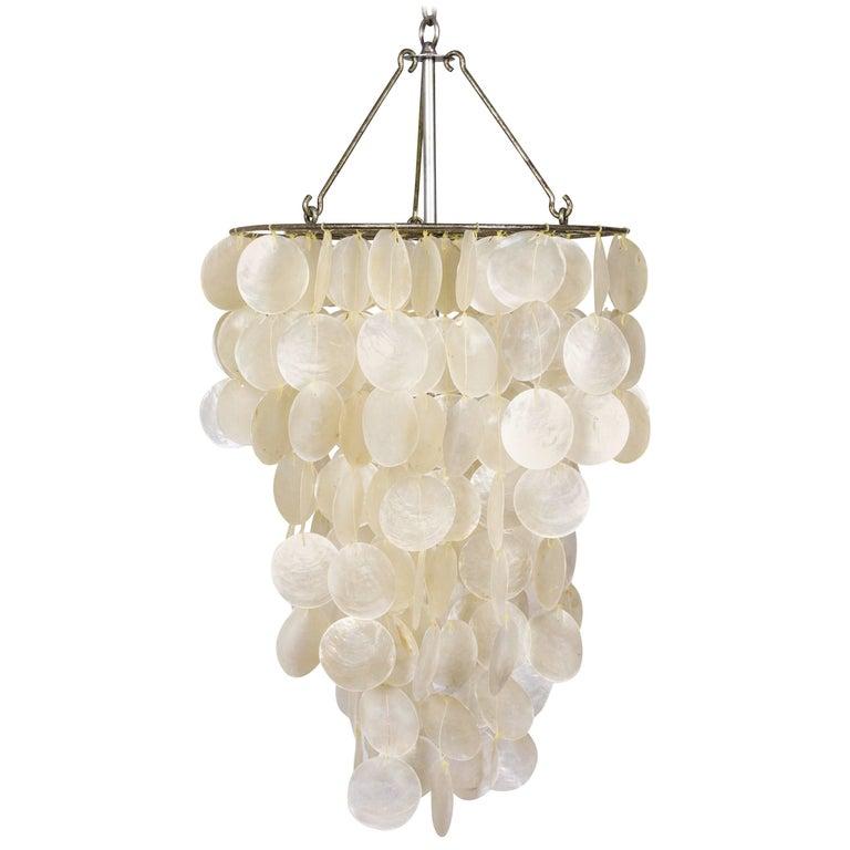 Fine Cascading Capiz Shell Pendant For Sale