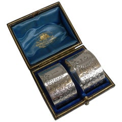 Fine Cased Pair of Antique English Sterling Silver Napkin Rings, Ferns