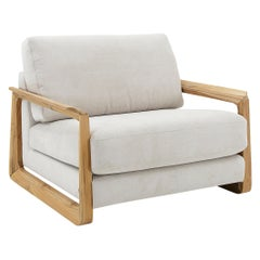 Fine Chair in Oatmeal Fabric with Teak Arms