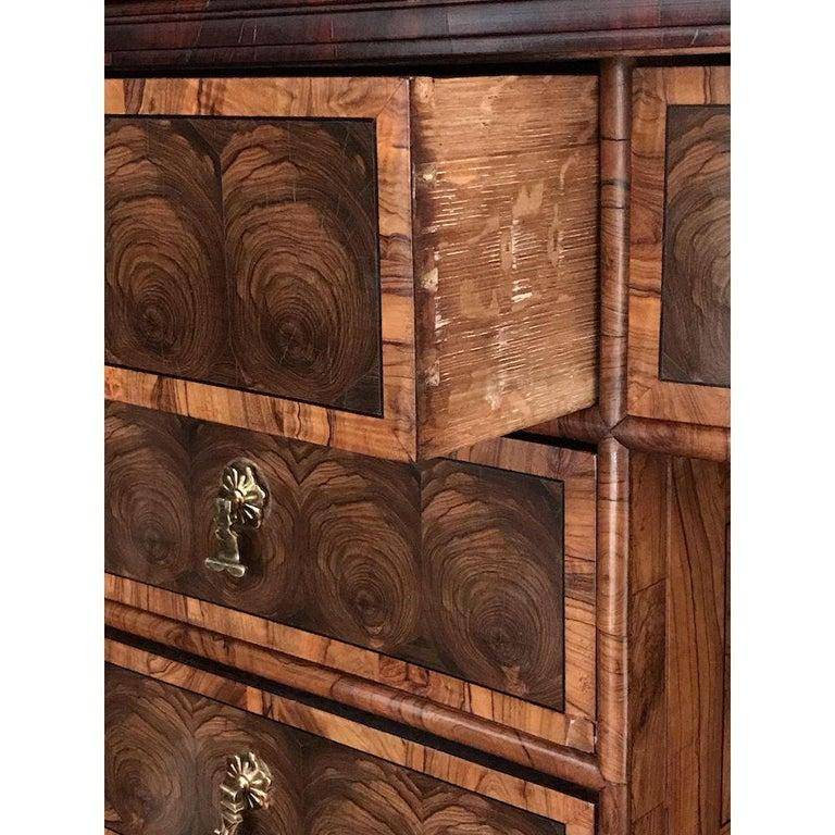 Fine Charles II Oyster Olivewood Walnut Marquetry Cabinet on Stand For Sale 5