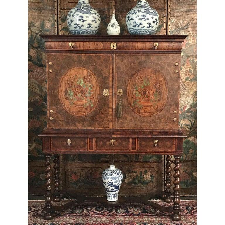 Fine Charles II Oyster Olivewood Walnut Marquetry Cabinet on Stand For Sale 6