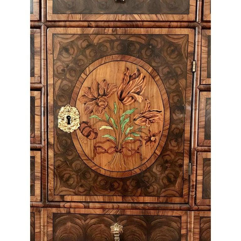 Fine Charles II Oyster Olivewood Walnut Marquetry Cabinet on Stand For Sale 1