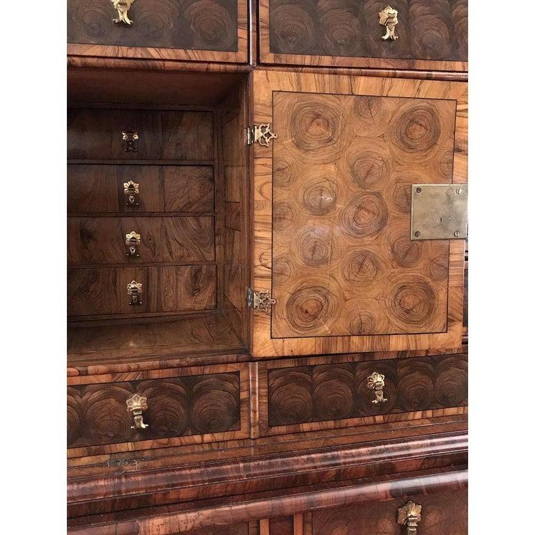 Fine Charles II Oyster Olivewood Walnut Marquetry Cabinet on Stand For Sale 4