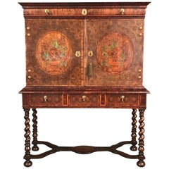 Fine Charles II Oyster Olivewood Walnut Marquetry Cabinet on Stand