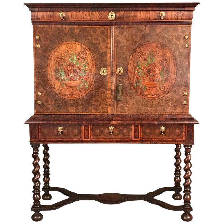 Fine Charles II Oyster Olivewood Walnut Marquetry Cabinet on Stand For Sale