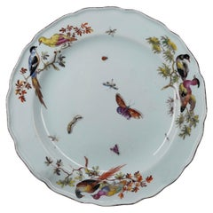 Fine Chelsea Red Anchor Plate, Birds-on-Branches and Butterflies, circa 1755