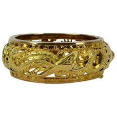 Fine Chinese 14 Karat Two-Tone Gold Bangle Bracelet with Dragon and Phoenix