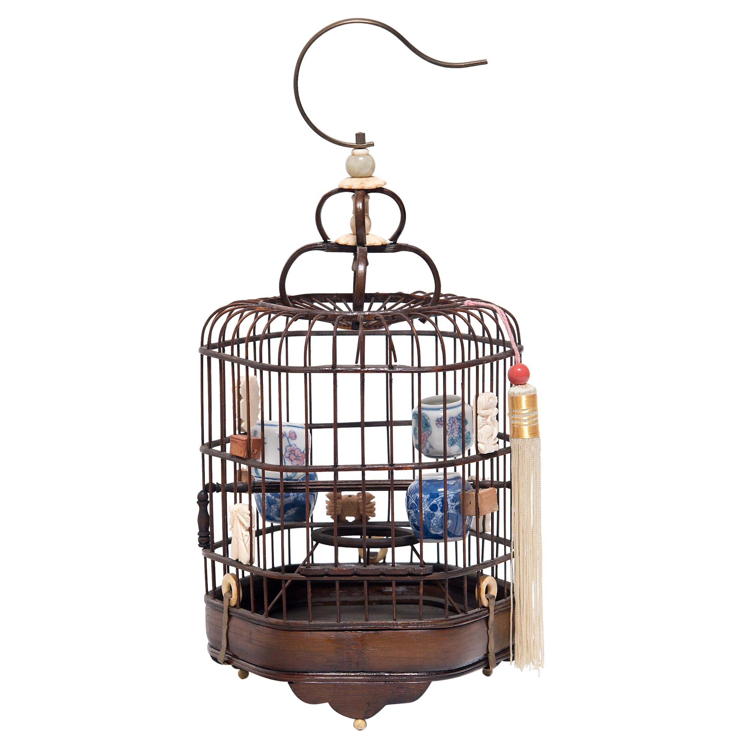 Fine Chinese Birdcage with Porcelain Waterpots, circa 1850
