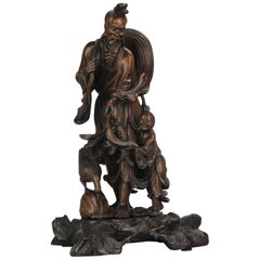 Fine Chinese Carved Wood Statue of a Fisherman, Son and Crane, circa 1900