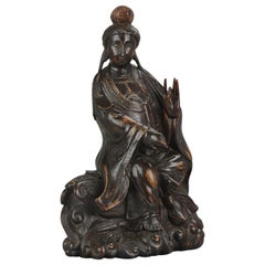 Fine Chinese Carved Wood Statue of a Guanyin Sitting on Clouds, circa 1900