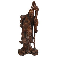 Fine Chinese Carved Wood Statue of Shou Lao Longevity Crane, circa 1900
