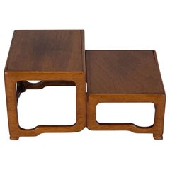Fine Chinese Export Carved Hardwood Two-Tier Square Stand
