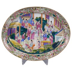 Fine Chinese Export Famille Rose Well and Tree Platter, circa 1840