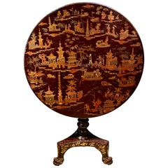 Fine Chinese Export Red Lacquer Occasional Table, circa 1820