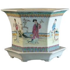 Fine Chinese Famille Rose Hexagonal Jardiniere and Stand Republic Period