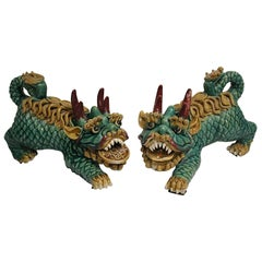 Fine Chinese Pair of Glazed Ceramic Fu Lions, Mid-20th Century