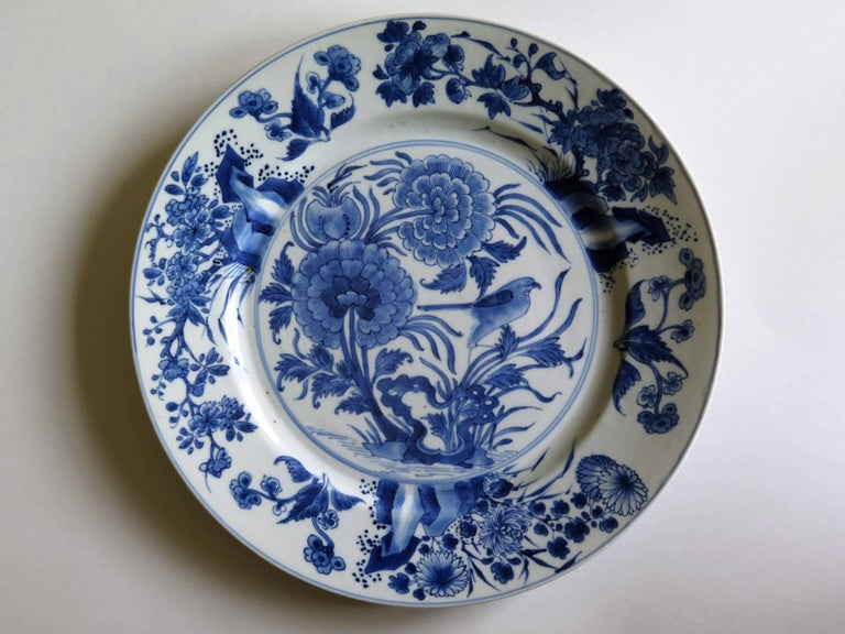 Qing Fine Chinese Porcelain Blue and White Plate, Kangxi Period and Mark Circa 1700 For Sale