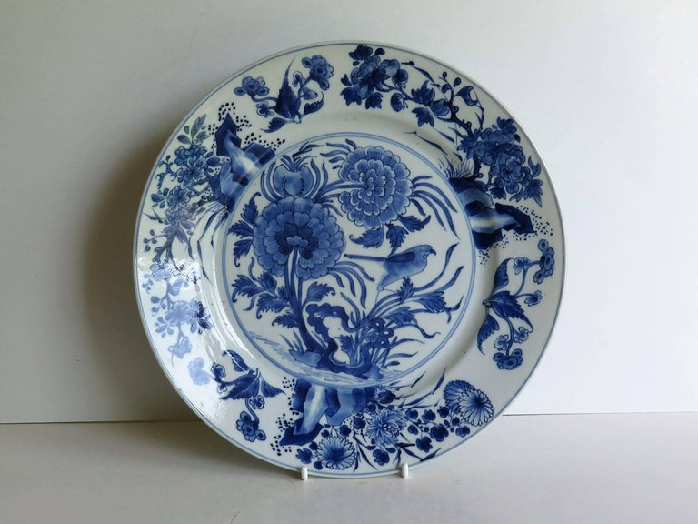 Hand-Painted Fine Chinese Porcelain Blue and White Plate, Kangxi Period and Mark Circa 1700 For Sale