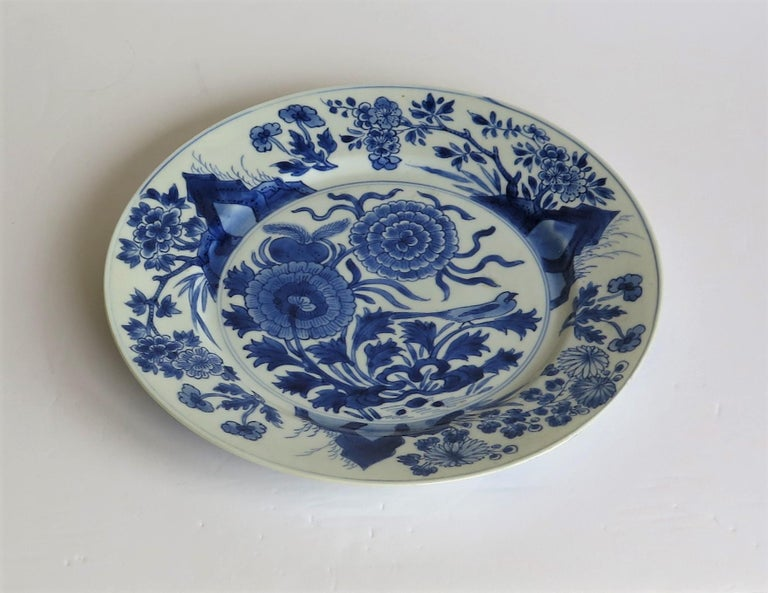Hand-Painted Fine Chinese Porcelain Blue and White Plate, Kangxi Period & Mark, circa 1700 For Sale