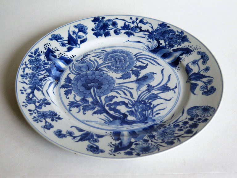 17th Century Fine Chinese Porcelain Blue and White Plate, Kangxi Period and Mark Circa 1700 For Sale