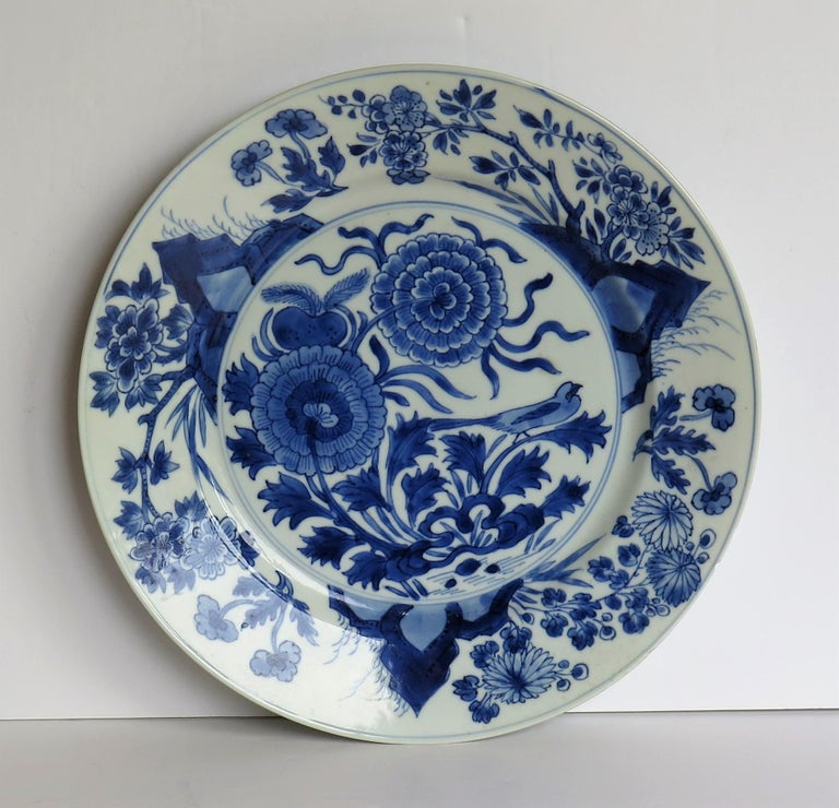 17th Century Fine Chinese Porcelain Blue and White Plate, Kangxi Period & Mark, circa 1700 For Sale