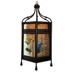 Fine Chinoiserie Octagonal Mirrored Reverse Painted Patinated Lantern Pendent