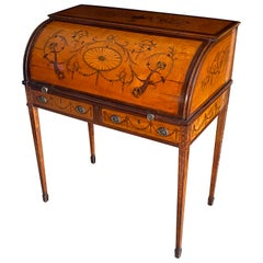 Fine Chippendale Period Satinwood and Marquetry Desk