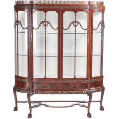 Fine Chippendale Revival Carved Mahogany Breakfront Display Cabinet