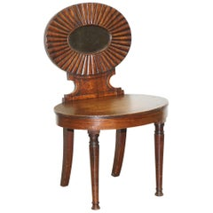 Fine circa 1780 Georgian Shell Back Hall Chair Gillows of Lancaster Attributed