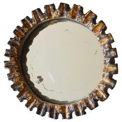 Fine Circular Ceramic Mirror, France, 1950