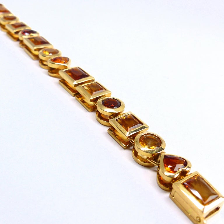 Fine Citrine 18K Gold Bracelet Bracelet  In New Condition For Sale In Idar-Oberstein, DE