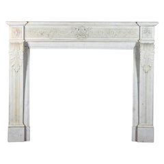 Fine Classic Vintage Fireplace Surround in White Carrara Marble