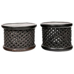 Fine Compatible Pair of Single Trunk Carved Cameroon Stools/ End Tables