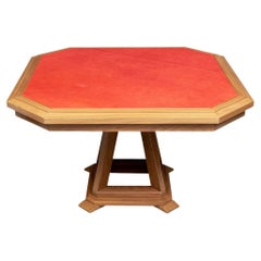 Fine Contemporary Octagonal Leather Top Games Table