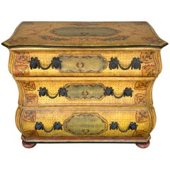 Fine Continental Neoclassical Painted Bombe Commode