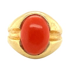 Fine Coral and Gold Ring