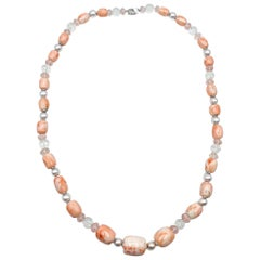 Fine Coral Rose Quartz Rock Quartz Fine Pearls Necklace