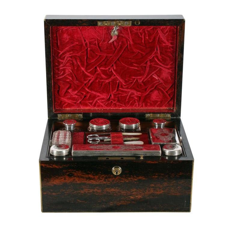 English Fine Coromandel Jewelry and Dressing Box For Sale