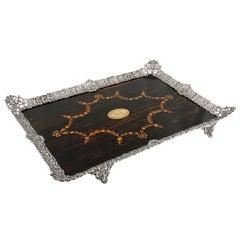 Fine Coromandel and Silver Plated Tray
